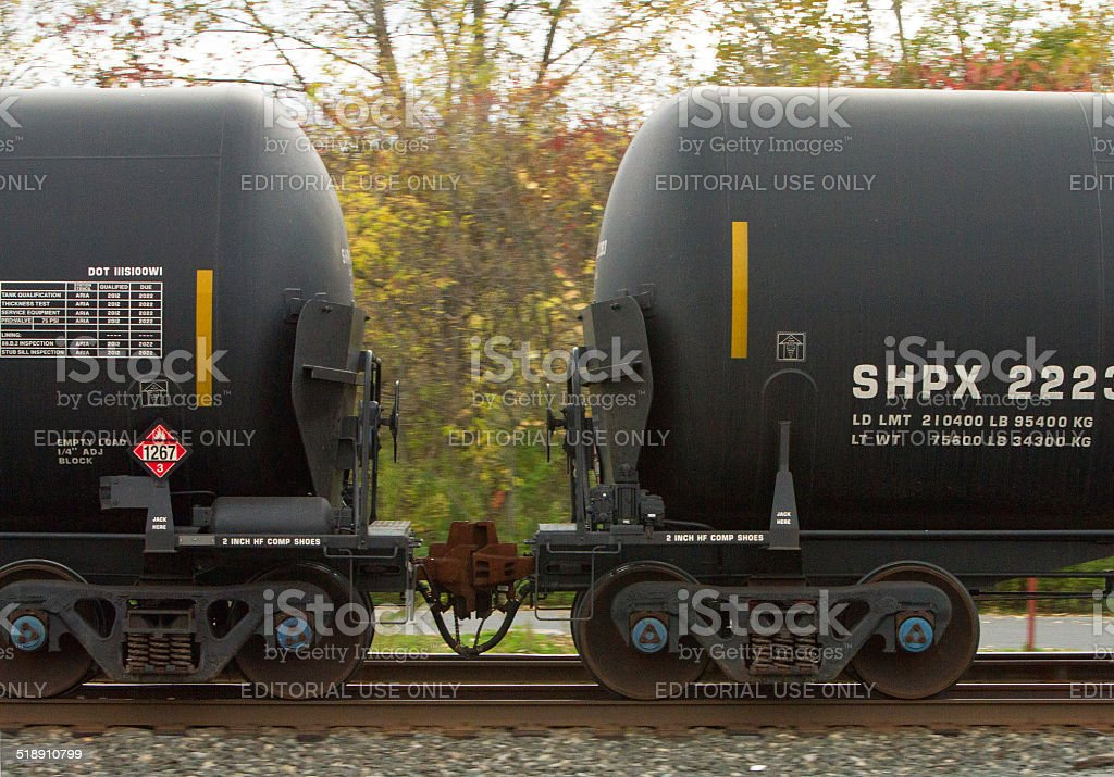 Railroad tank car, DOT111S, with end shields stock photo