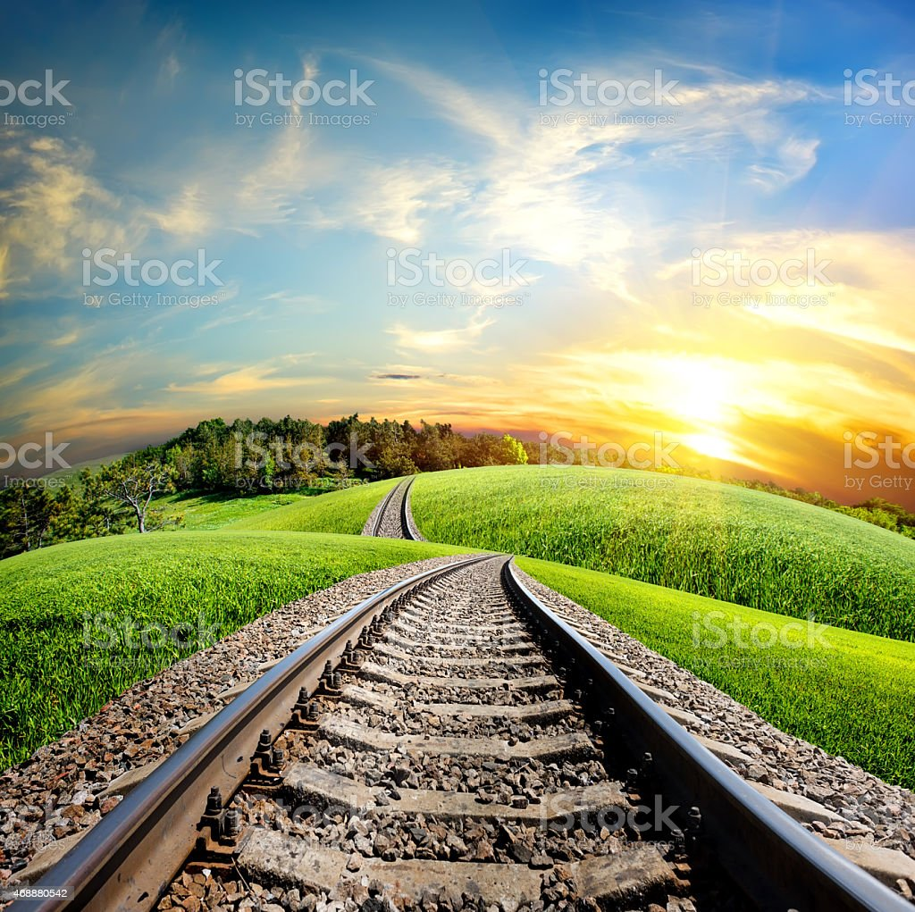 Railroad through forest stock photo