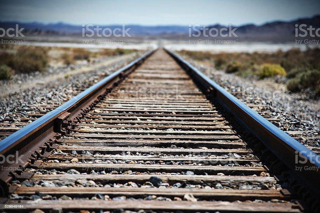 Railroad Through the Desert stock photo