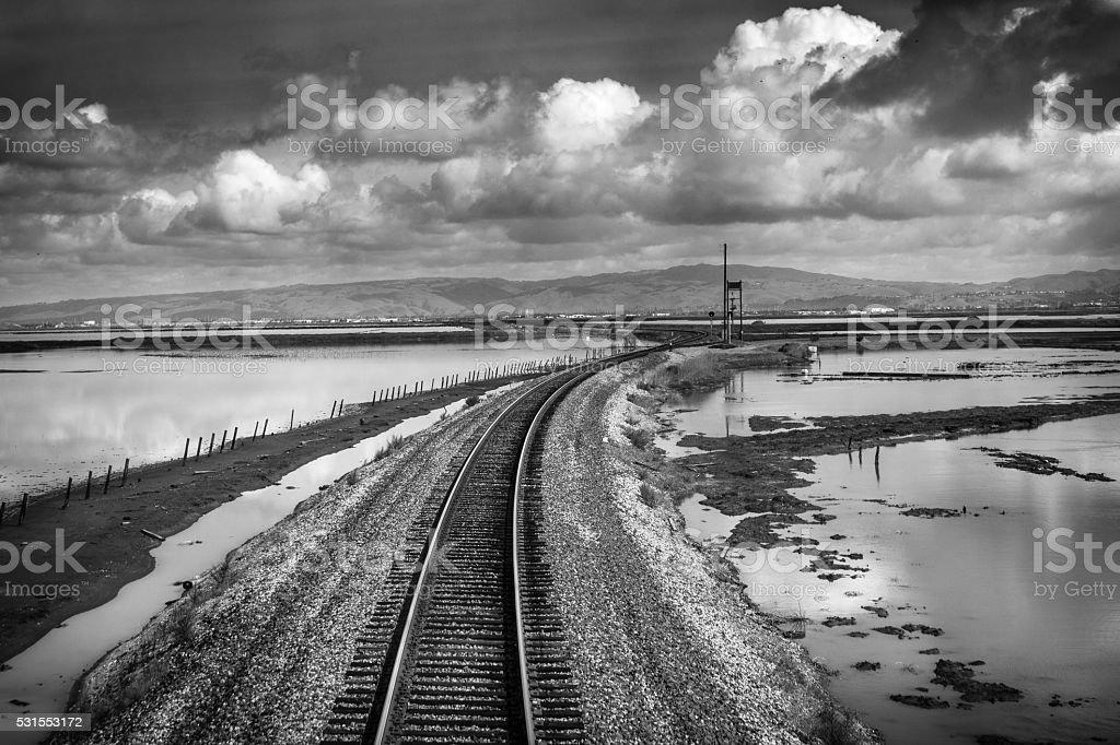 Railroad Through The Elkhorn Slough, Monterey County, California royalty-free stock photo