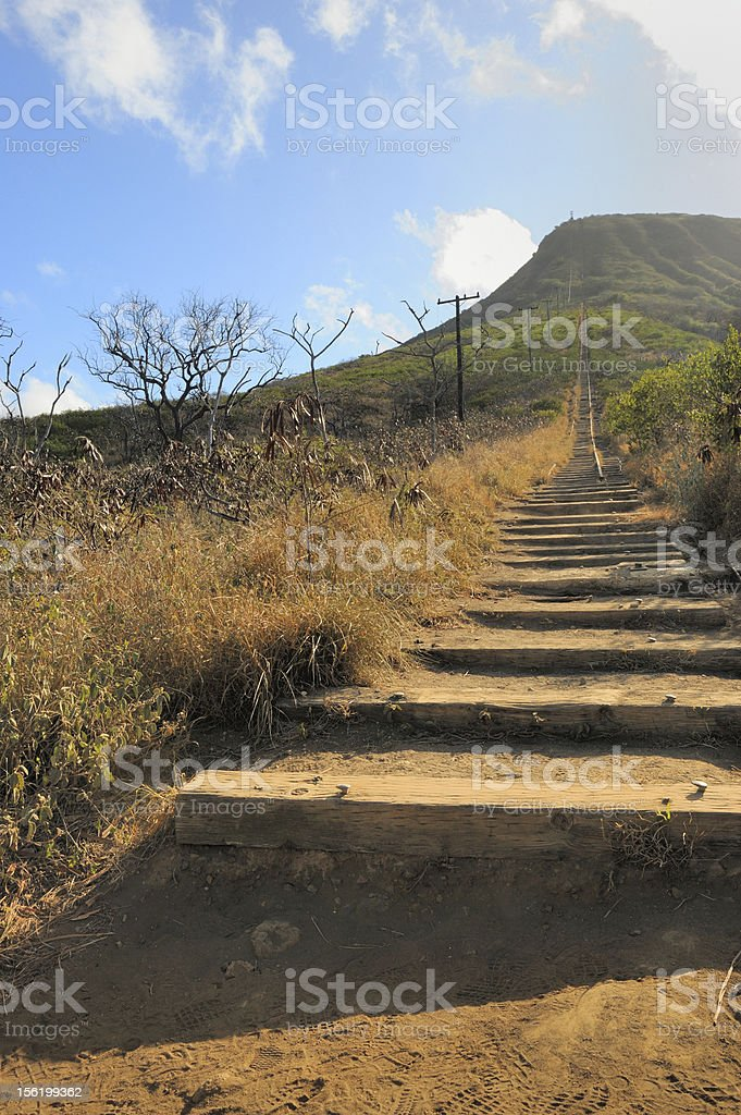 Railroad Ties leading up Koko Head Crater stock photo