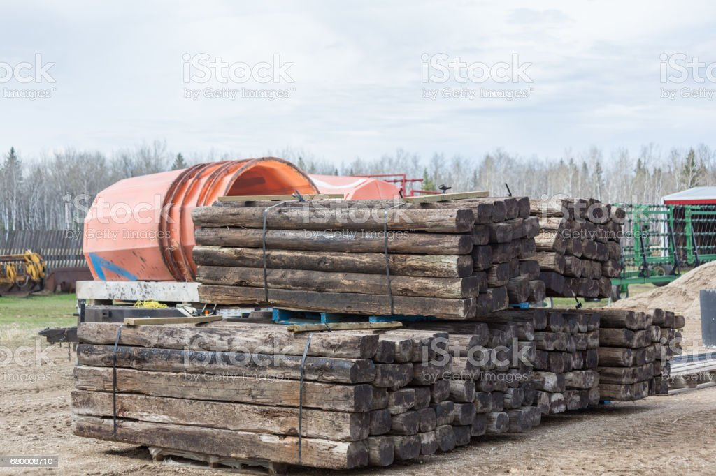 railroad ties stock photo