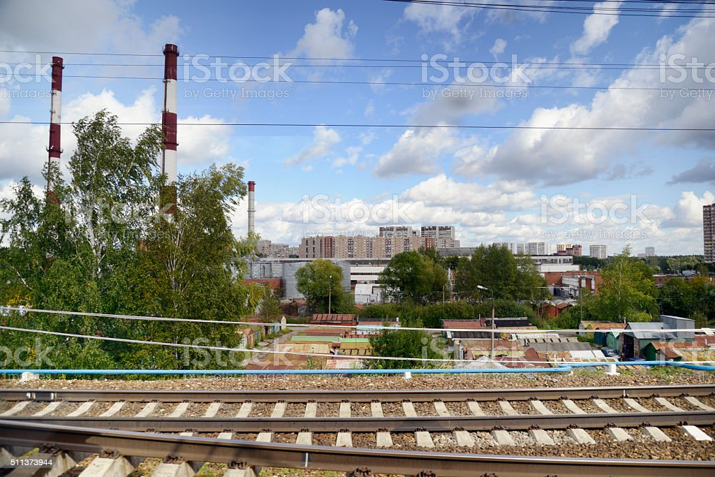 Railroad Track and Condos, Moscow, Russia stock photo