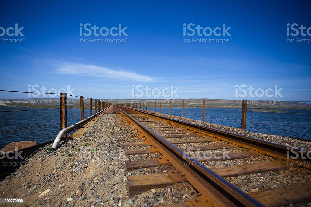 Railroad track and lights stock photo