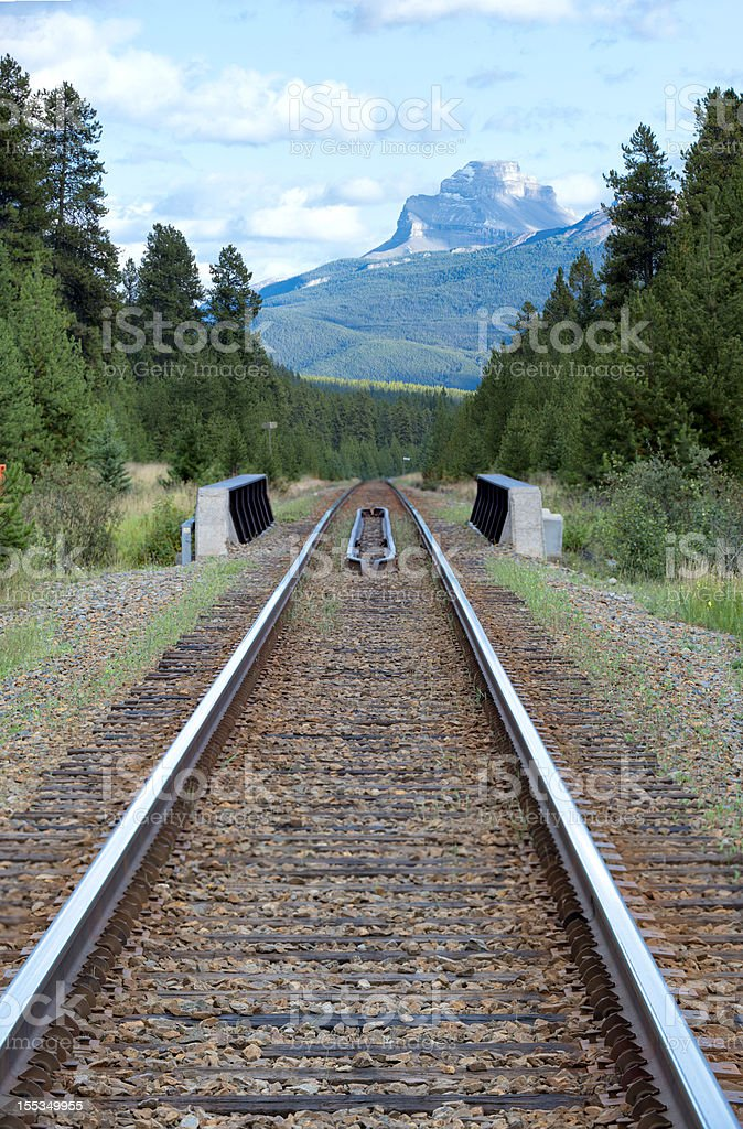 Railroad track and Pilot Mountain, Canadian Rockies royalty-free stock photo