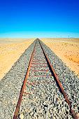 Railroad track in the Namib desert in Africa