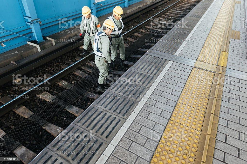 Railroad Track Inspectors, Osaka, Japan. stock photo