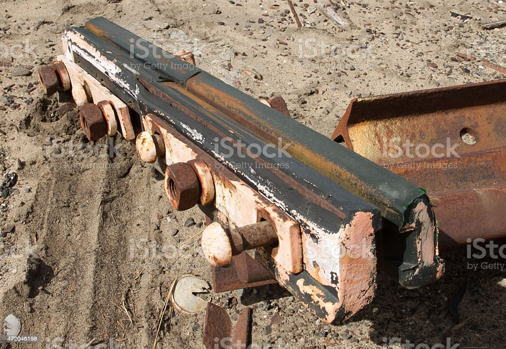 Railroad track insulated rail joiner stock photo