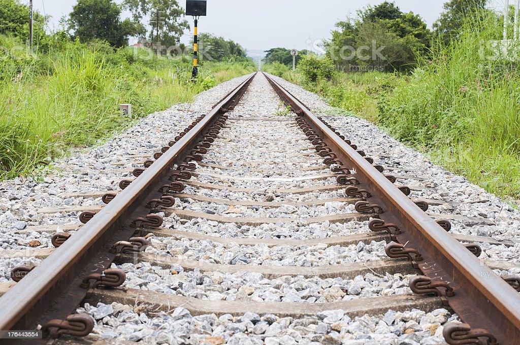 Railroad track into the distance royalty-free stock photo
