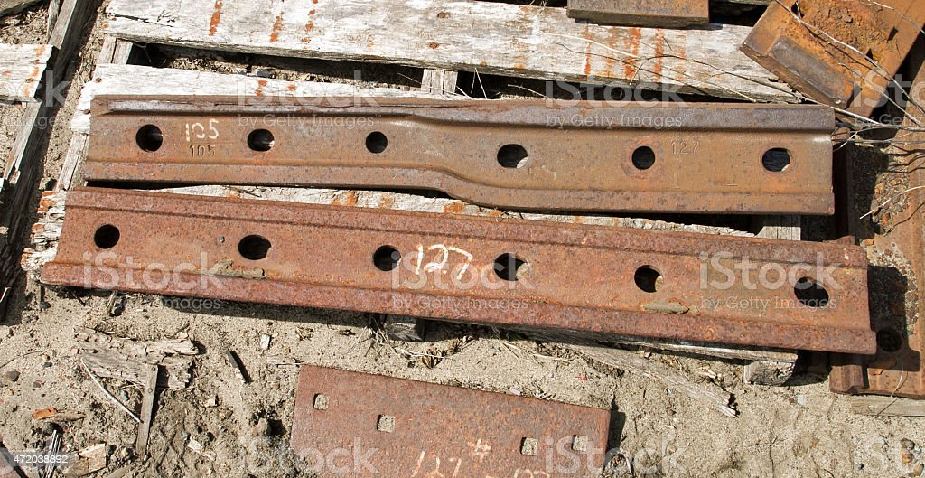 Railroad track joiners stock photo