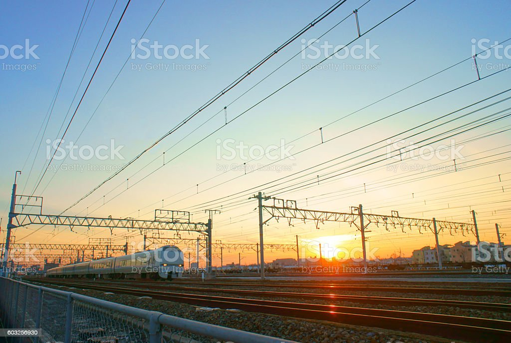 Railroad track of dusk stock photo