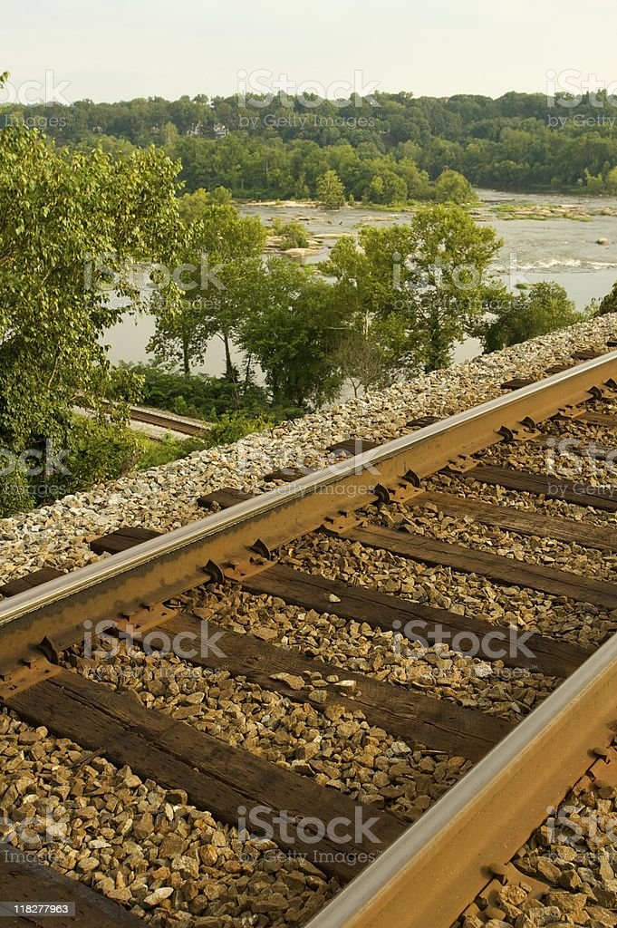 Railroad track on bridge. stock photo