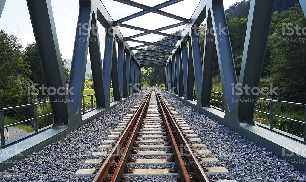 Railroad track over a bridge in the Black Forest stock photo
