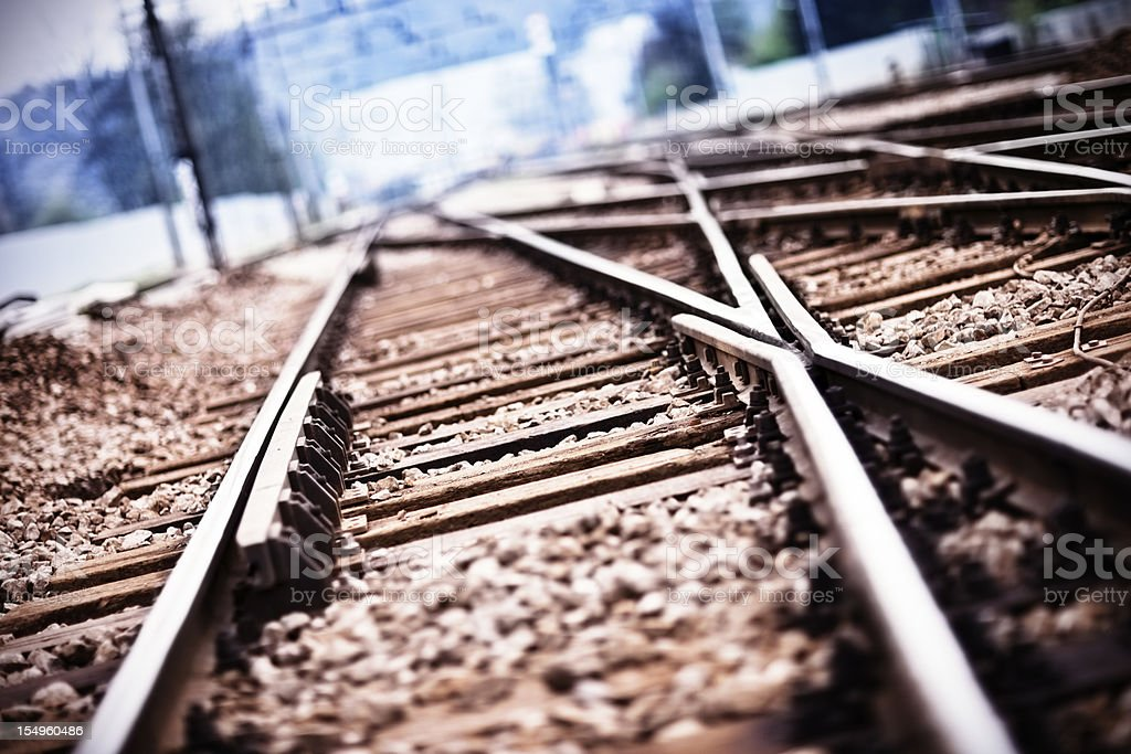 Railroad  track points royalty-free stock photo