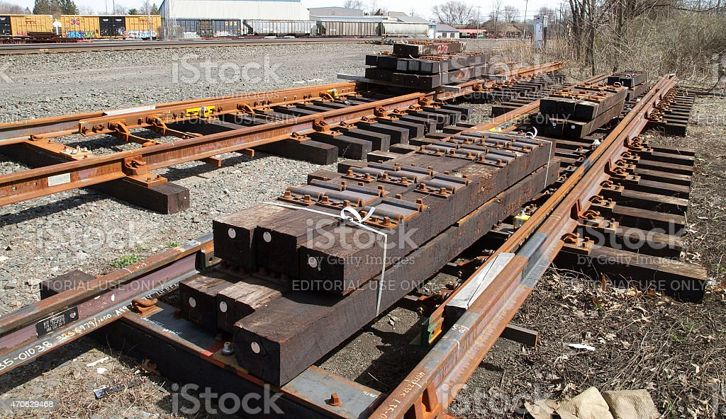 Railroad track sectional panel switch stock photo