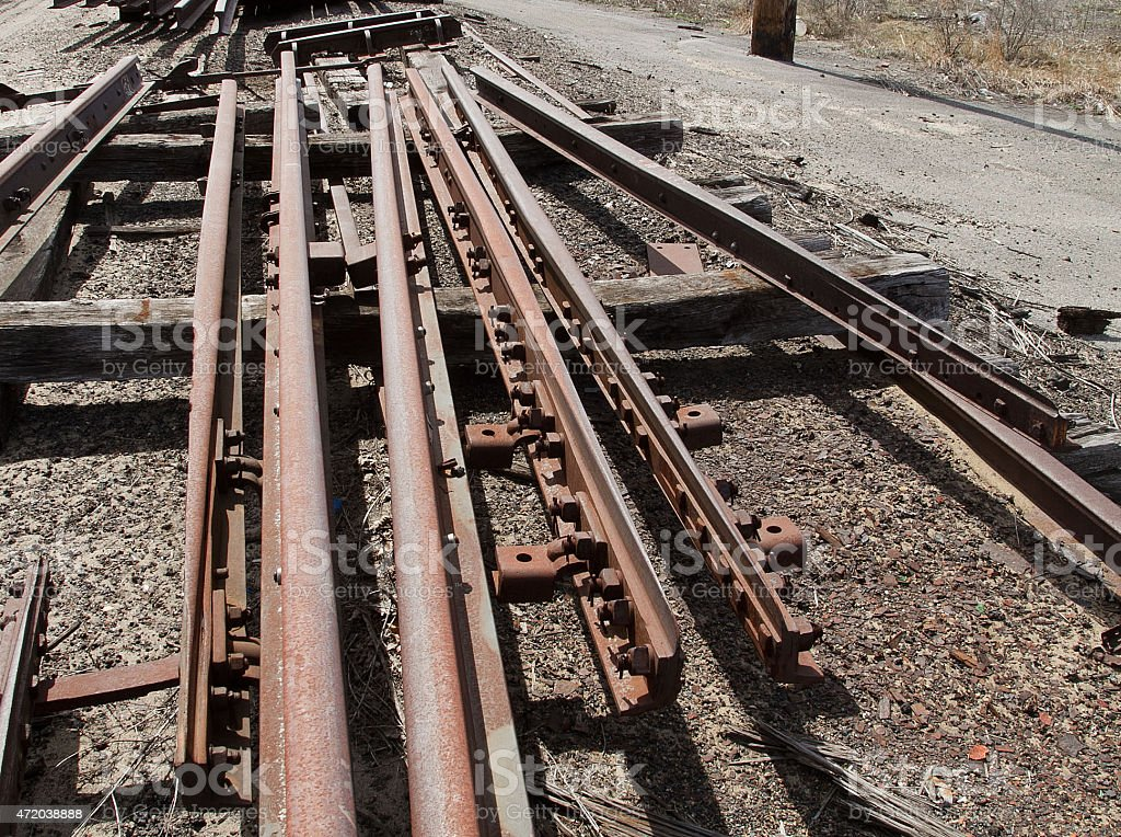 Railroad track switch points stock photo