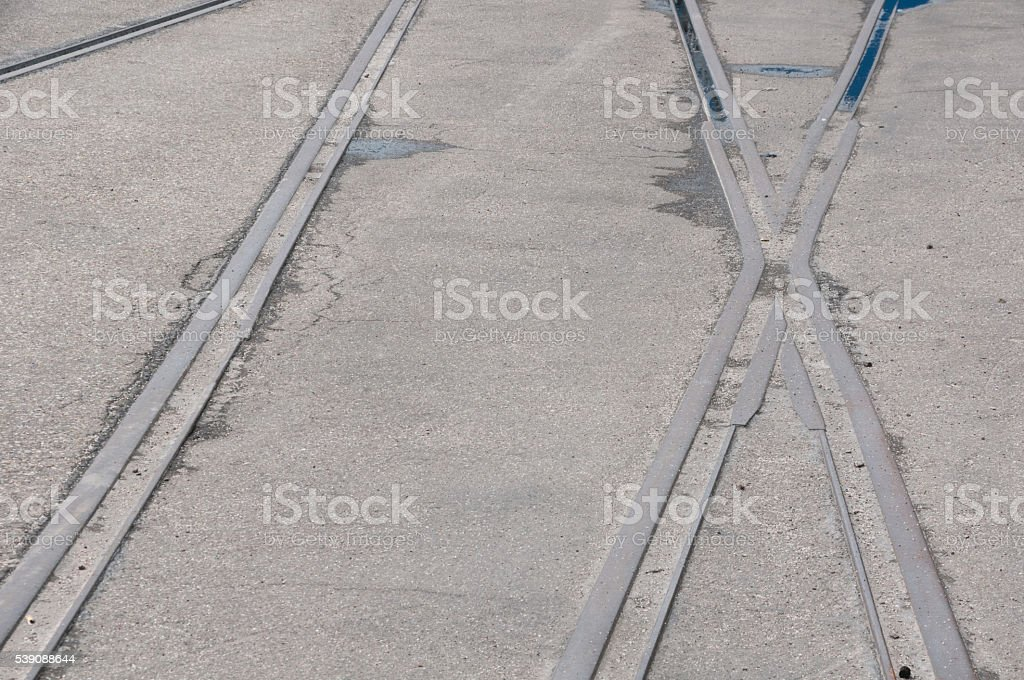 Railroad track with junction stock photo