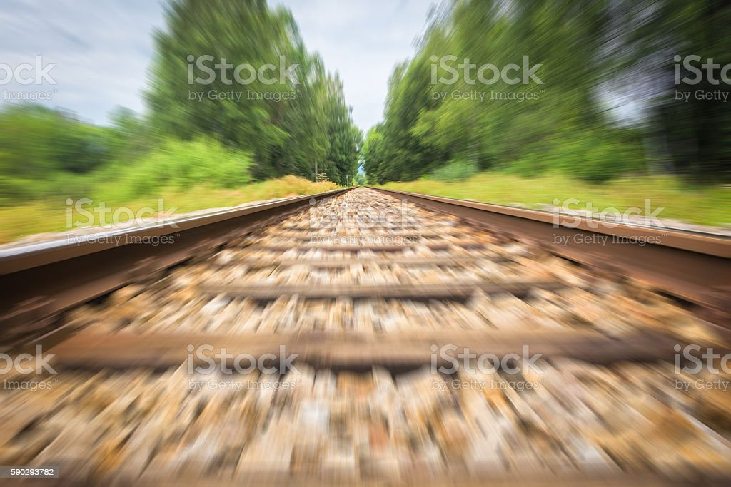 Railroad track with motion blur stock photo