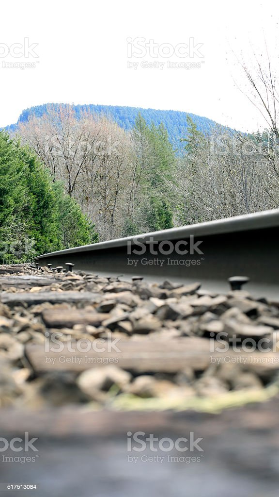 railroad track-low angle stock photo