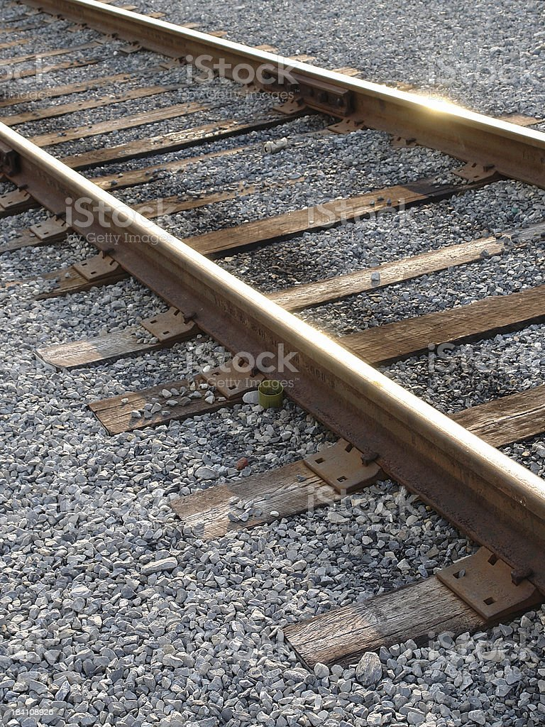 Railroad tracks and gravel royalty-free stock photo