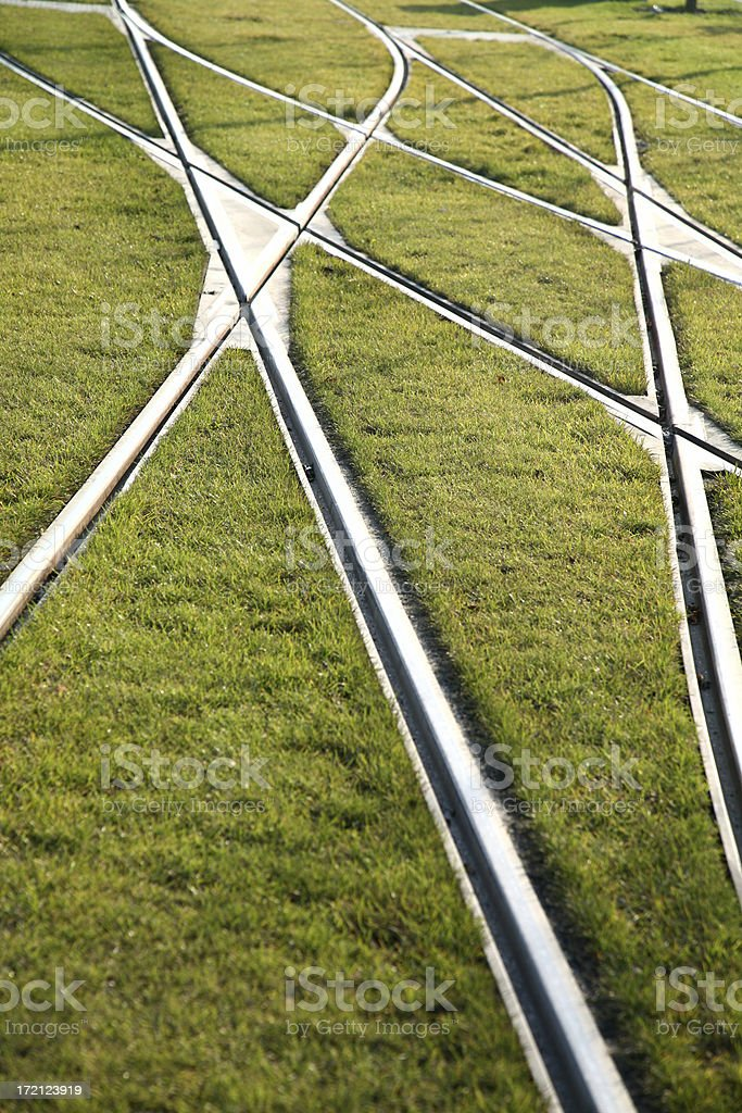 Railroad tracks and switches royalty-free stock photo