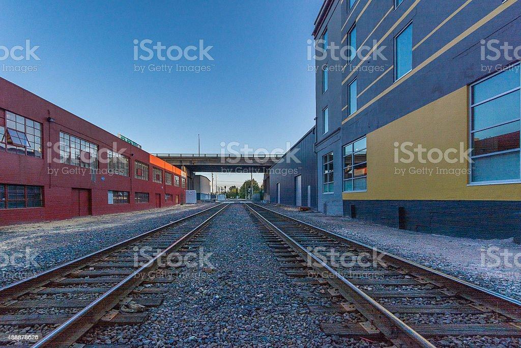 Railroad Tracks at dusk stock photo