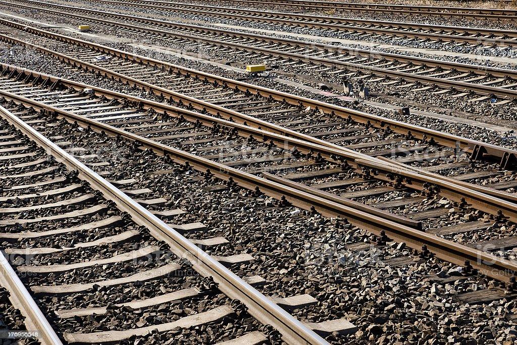 Railroad tracks background stock photo