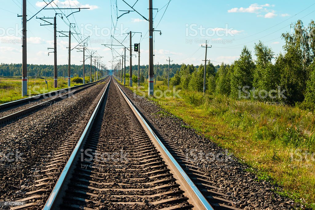 railroad tracks close-up on the forest background stock photo