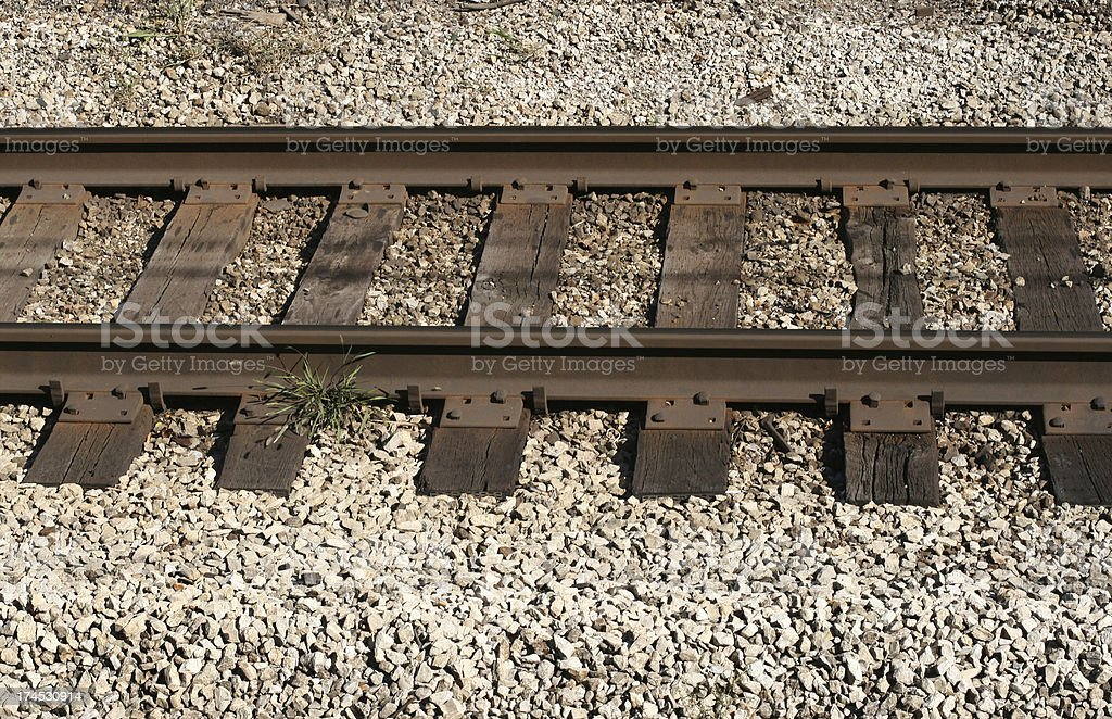 Railroad tracks close-up. stock photo