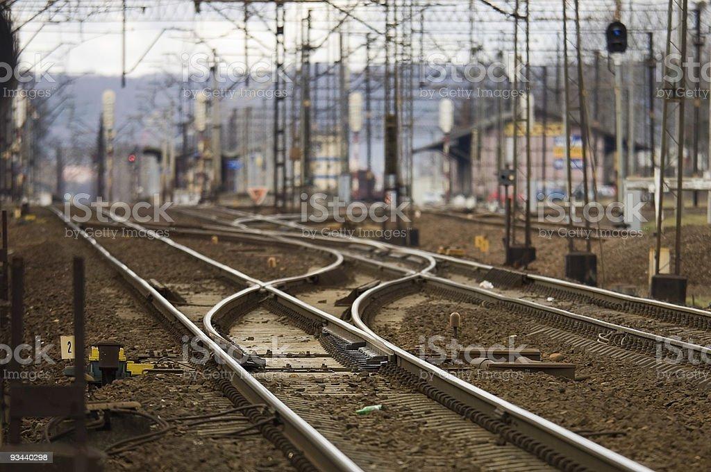 Railroad tracks cross royalty-free stock photo