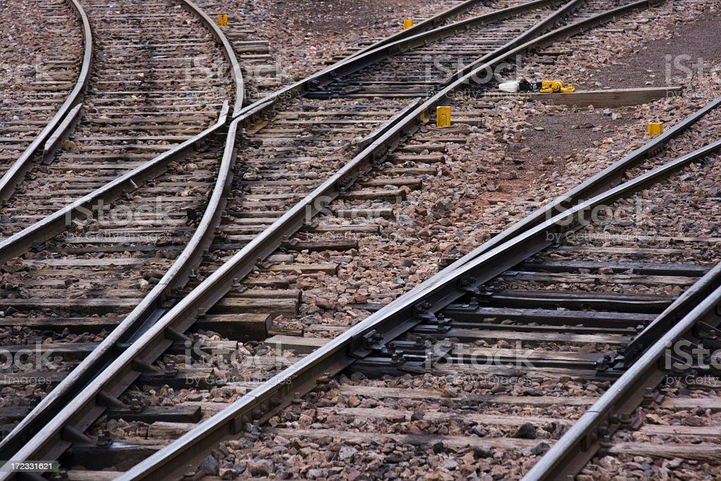 Railroad Tracks Crossing, Converging, Merging Lines Near Machu Picchu, Peru royalty-free stock photo