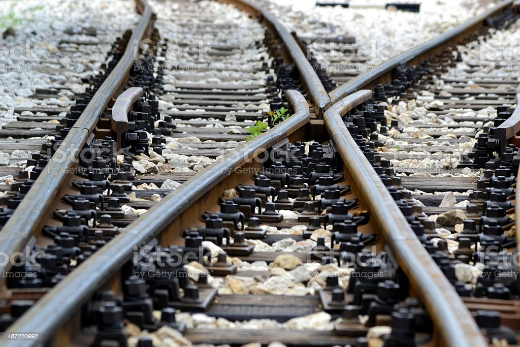 railroad tracks crossing  on the mountain stock photo