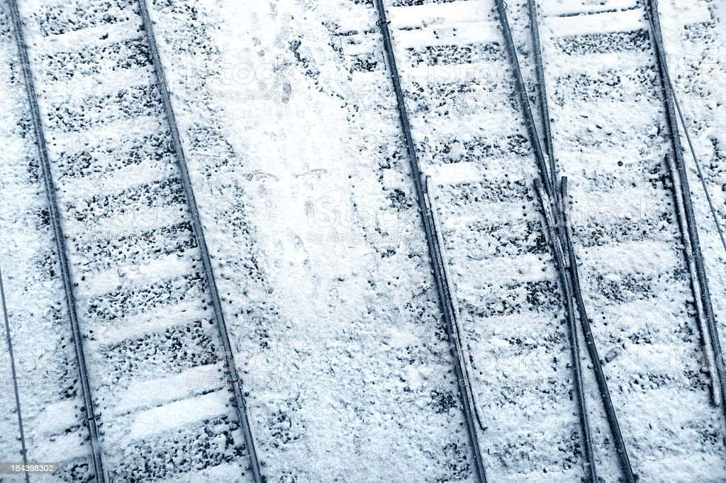 railroad tracks in snow royalty-free stock photo
