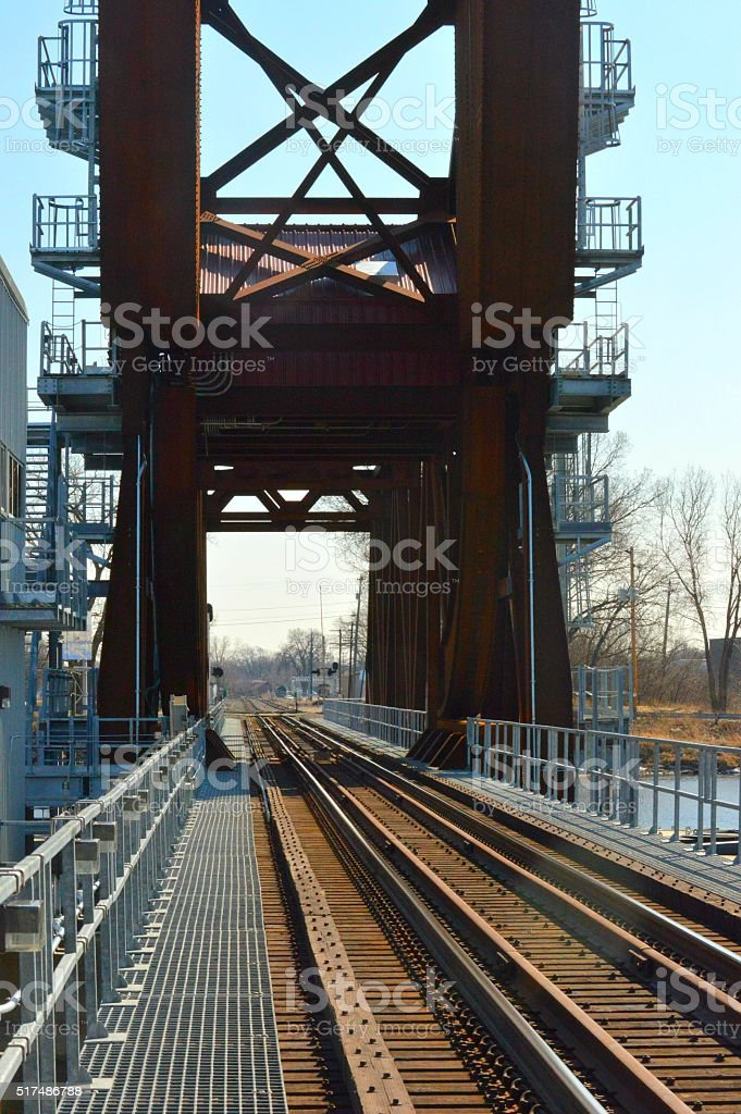 Railroad tracks - Oshkosh, Wisconsin stock photo