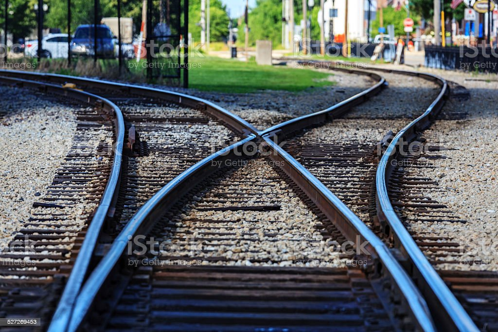 Railroad tracks running through a city stock photo