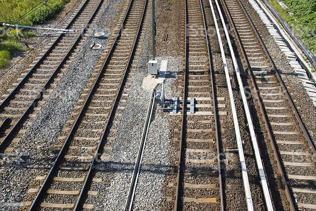 Railroad tracks seen from a bridge stock photo