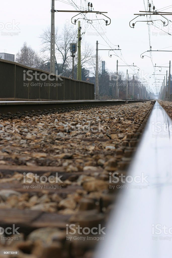 Railroad tracks to infinity royalty-free stock photo