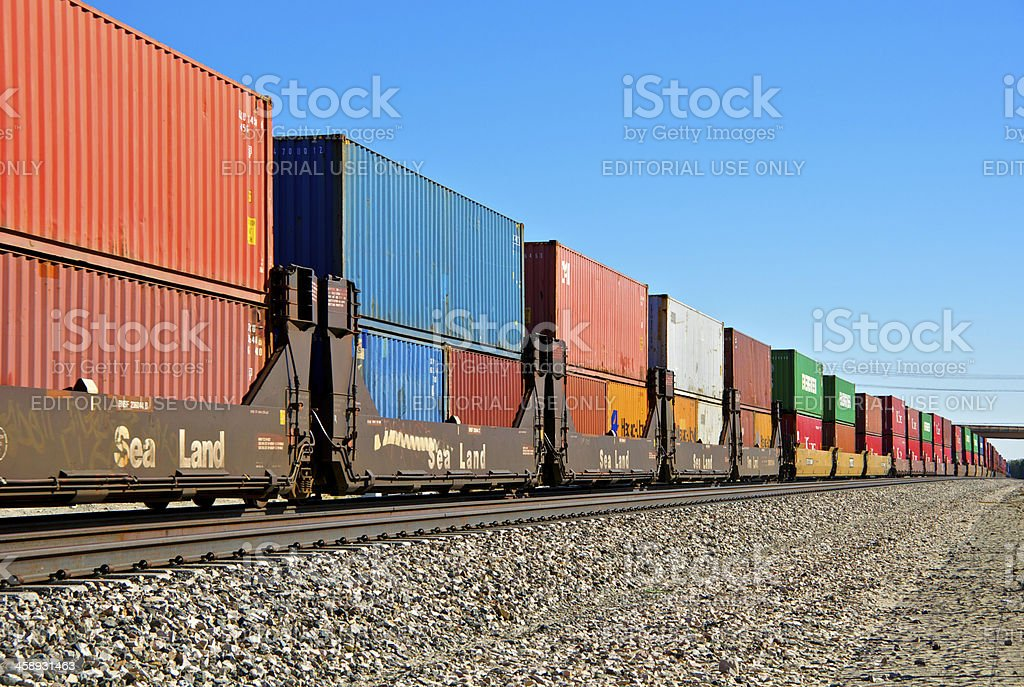 Railroad train freight container carriers, Palm Springs, California stock photo