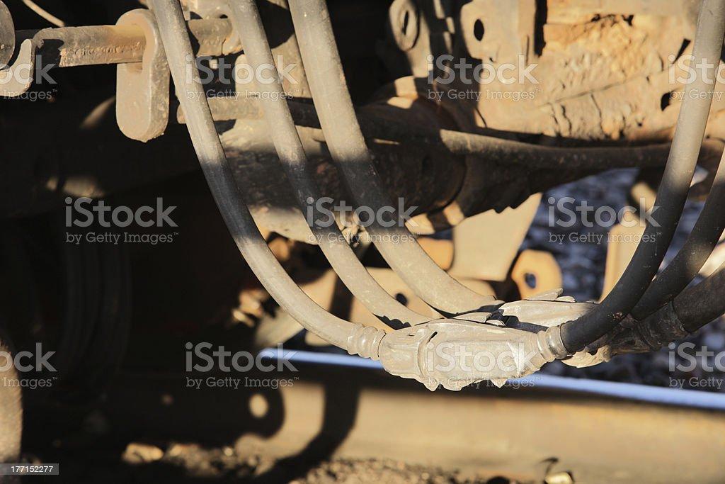 Railroad Train Hydraulic Coupling Hose royalty-free stock photo
