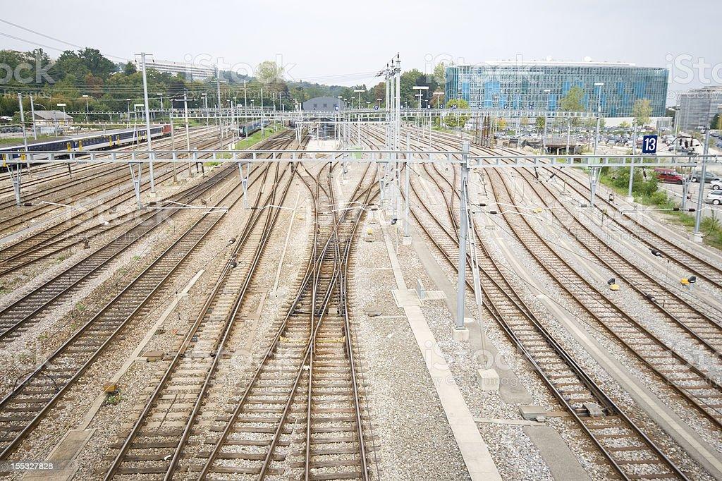 Railroad Train Yard and Tracks Geneva Switzerland royalty-free stock photo