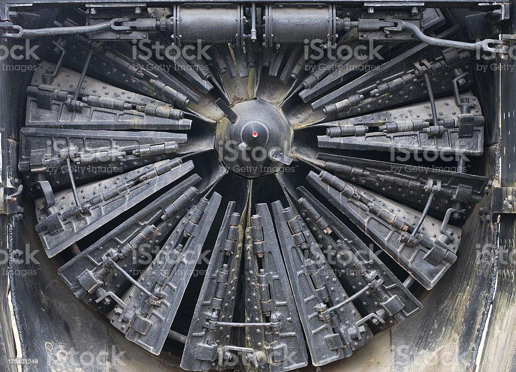 Railroad train's rotary snowplow stock photo