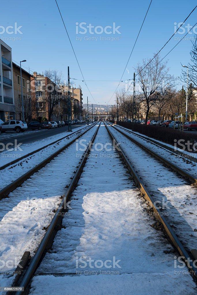 Railroad tram stock photo