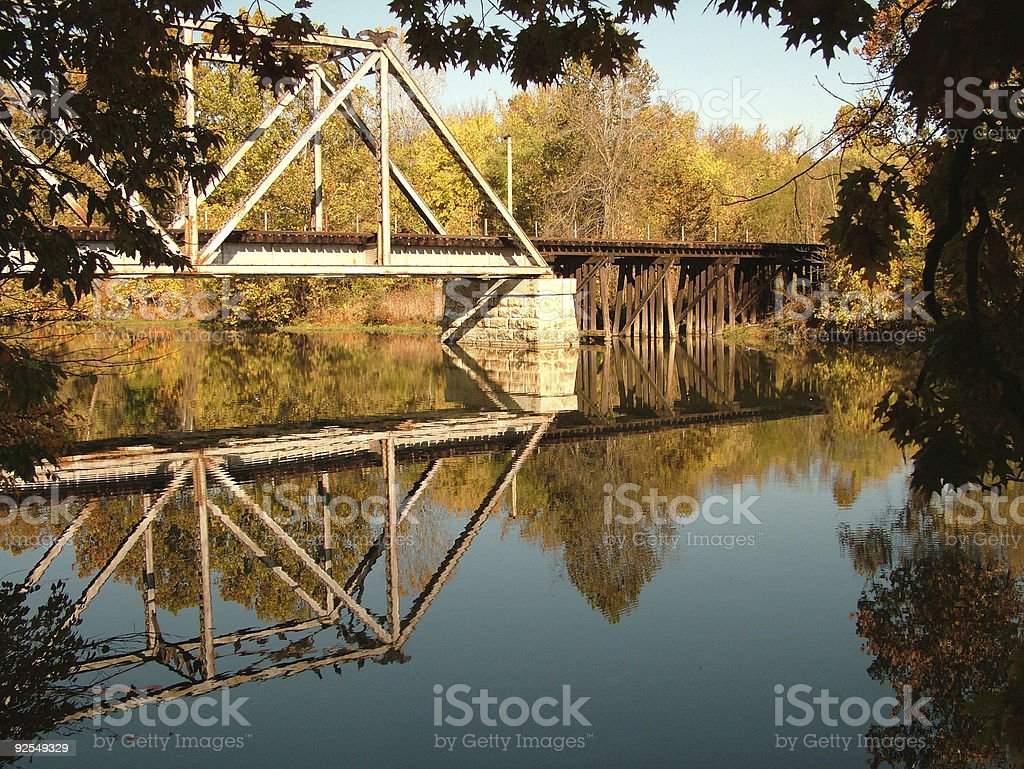 Railroad Trestle in the Fall royalty-free stock photo