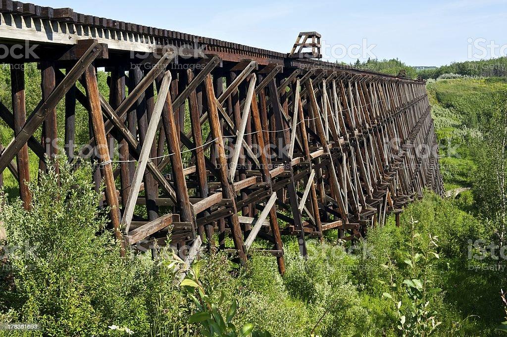 Railroad trestle over small valley stock photo