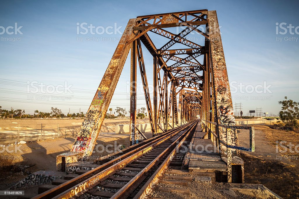 Railroad Truss Bridge Over The L.A. River Through South Gate royalty-free stock photo