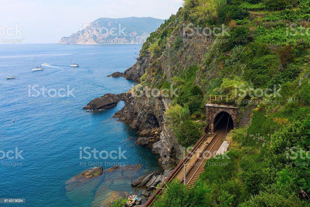 railroad tunnel at the coast of Vernazza, Cinque Terre, Italy stock photo