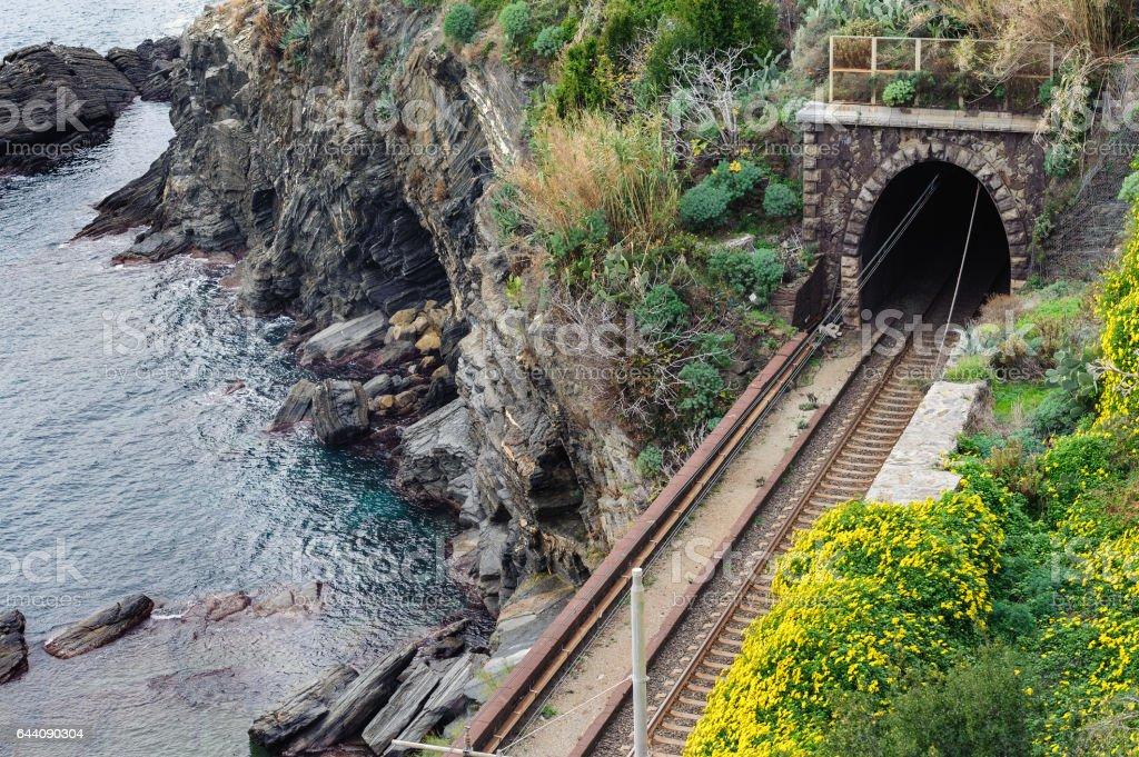 Railroad tunnel near the coast of Mediterranean sea stock photo