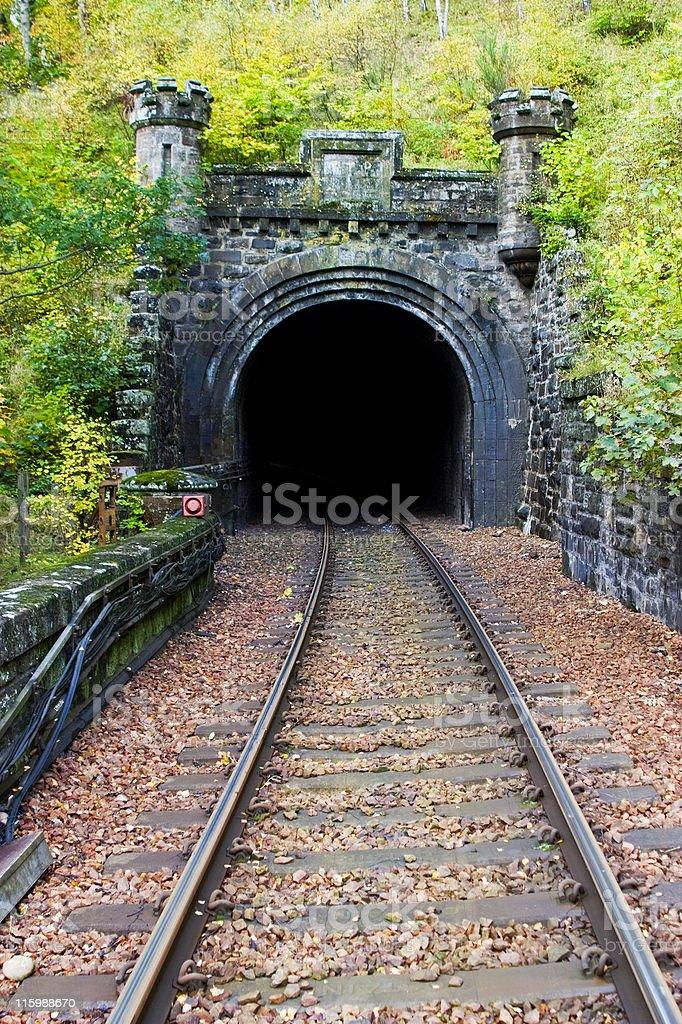 Railroad tunnel stock photo