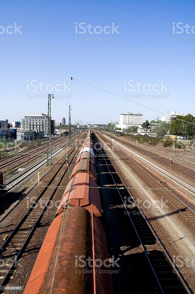 Railroad, wagon train and Container Terminal stock photo