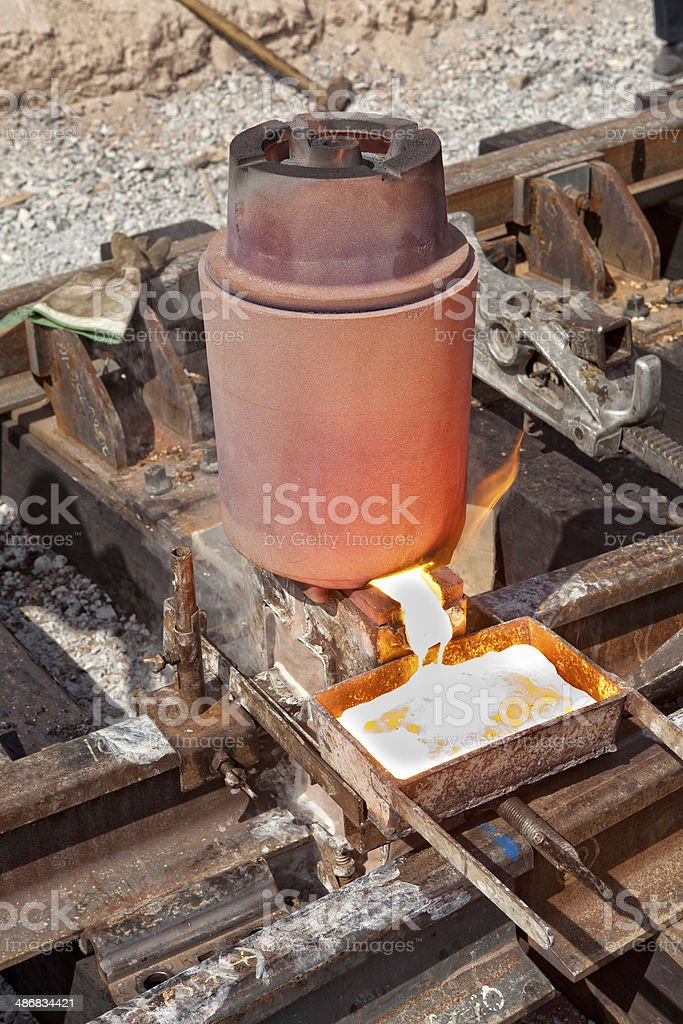 Railroad Welding Process royalty-free stock photo